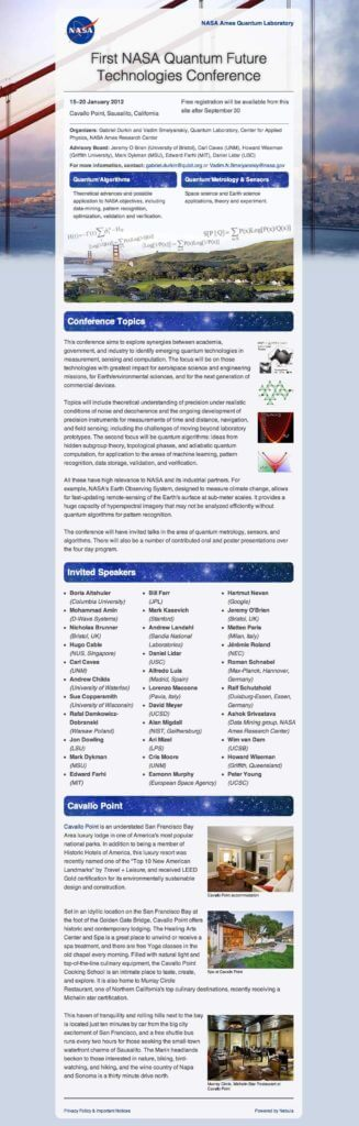 Quantum conference mobile responsive site, wide - screen capture