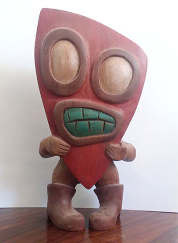 Mr. Personality - carved and painted redwood